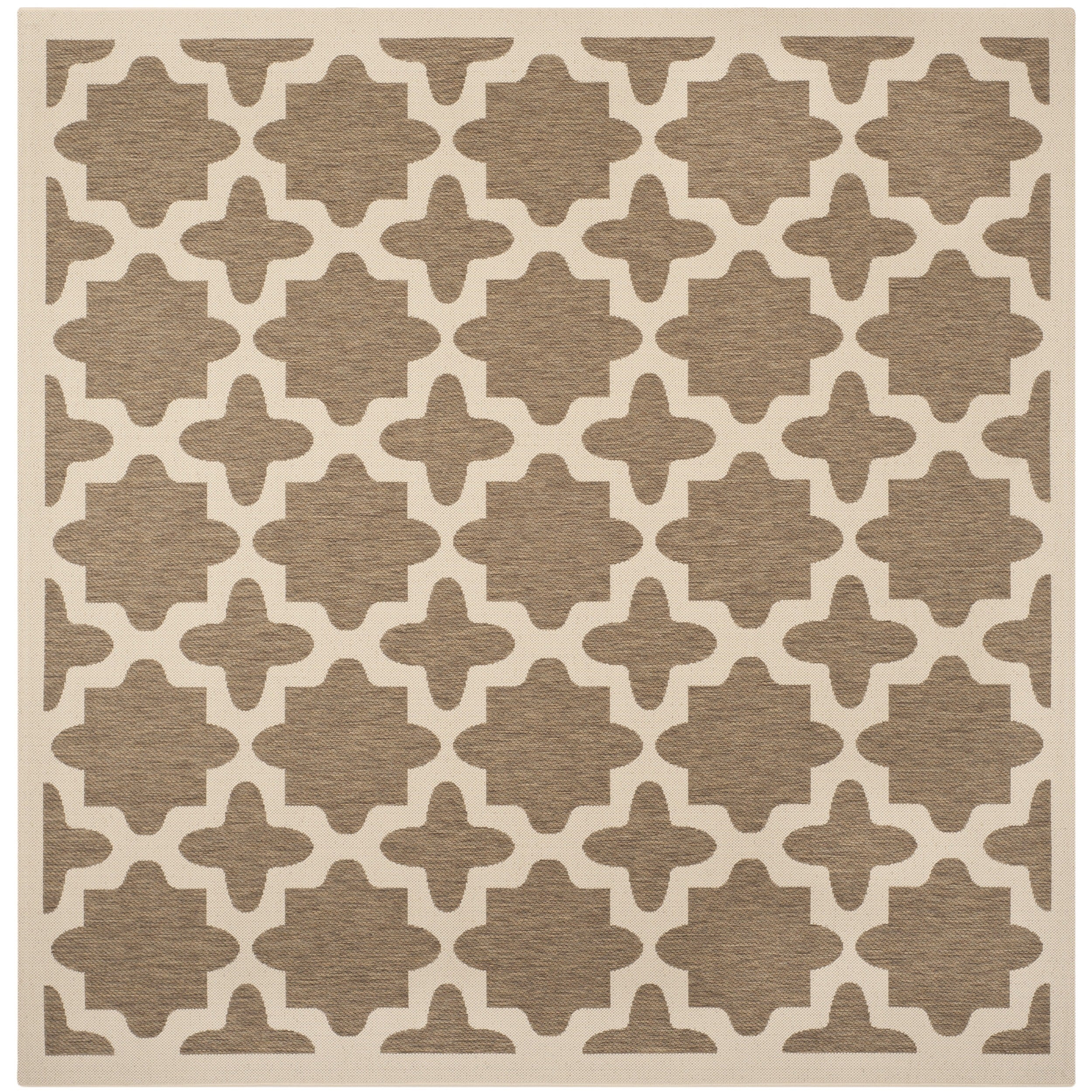Safavieh Indoor/ Outdoor Courtyard Brown/ Bone Area Rug (53 Square)