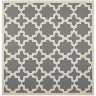 Safavieh Indoor/ Outdoor Courtyard Anthracite/ Beige Polypropylene Rug (4' Square)