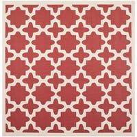 Safavieh Courtyard All-Weather Red/ Bone Indoor/ Outdoor Rug - 4' x 4' Square