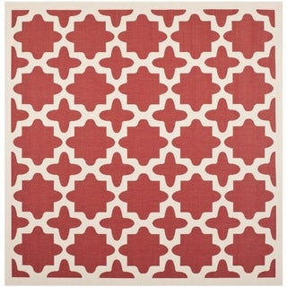 Safavieh Courtyard All-Weather Red/ Bone Indoor/ Outdoor Rug (5'3 Square)