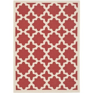 Safavieh Courtyard All-Weather Red/ Bone Indoor/ Outdoor Rug (8' x 11')