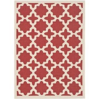 Safavieh Courtyard All-Weather Red/ Bone Indoor/ Outdoor Rug (8' x 11')