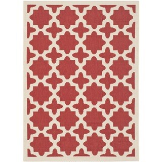 Safavieh Courtyard All-Weather Red/ Bone Indoor/ Outdoor Rug (9' x 12')
