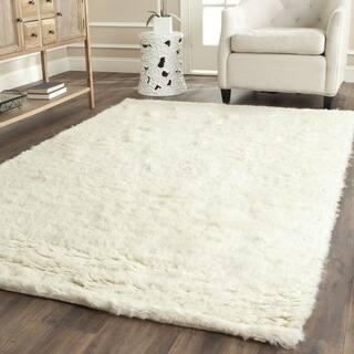 Safavieh Handmade Flokati Ivory Wool Rug 8 Square
