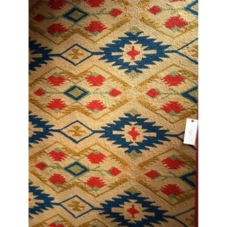 Safavieh Hand-Hooked Four Seasons Southwestern Natural/ Blue Polyester Rug (6' x 9')