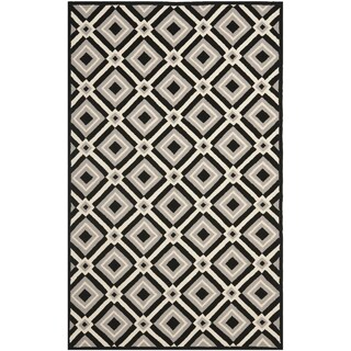 Safavieh Indoor/ Outdoor Four Seasons Black/ Grey Rug (6' x 9')