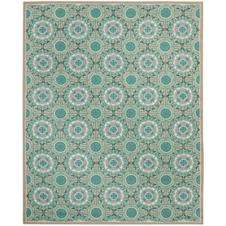 Safavieh Indoor/ Outdoor Four Seasons Mint/ Aqua Rug (6' x 9')
