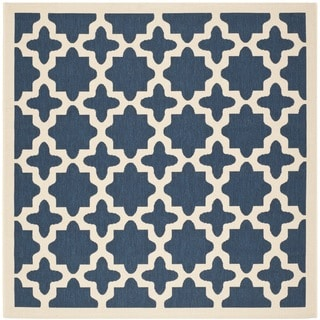 Safavieh Courtyard All-Weather Navy/ Beige Indoor/ Outdoor Rug (4' Square)
