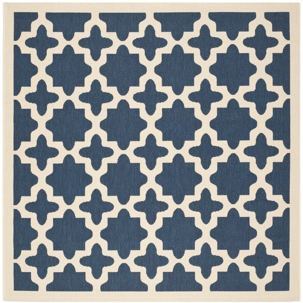 "Safavieh Courtyard All-Weather Navy/ Beige Indoor/ Outdoor Rug - 7'10"" x 7'10"" square"