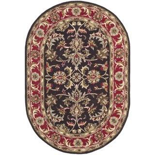 Safavieh Handmade Heritage Timeless Traditional Chocolate Brown/ Red Wool Rug (4'6 x 6'6 Oval)