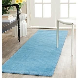 Safavieh Handmade Himalaya Solid Blue Wool Runner Rug (2'3 x 10')