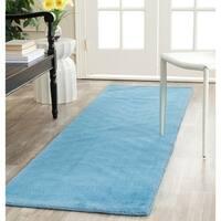 "Safavieh Handmade Himalaya Solid Blue Wool Runner Rug - 2'3"" x 10'"