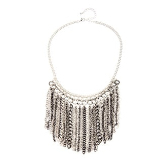 Alexa Starr Silvertone and Black Chain Fringe Bib Necklace