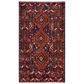 Herat Oriental Afghan Hand-knotted Tribal Balouchi Navy/ Brown Wool Area Rug (3'7 x 6'5)