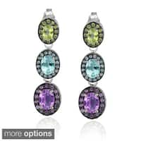 Glitzy Rocks Sterling Silver Multi-gemstone Dangle Earrings