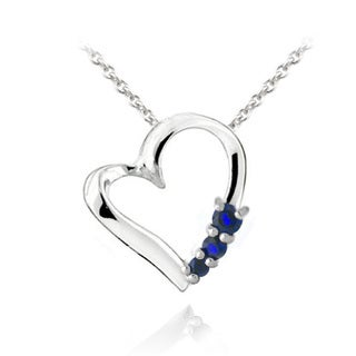Glitzy Rocks Sterling Silver Created Spinel or Created Quartz Heart Necklace