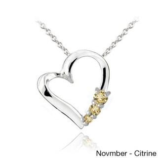 Glitzy Rocks Sterling Silver Gemstone Heart Necklace