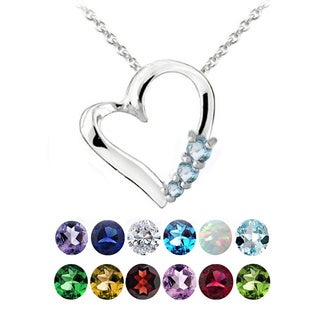 Glitzy Rocks Sterling Silver Gemstone Heart Necklace