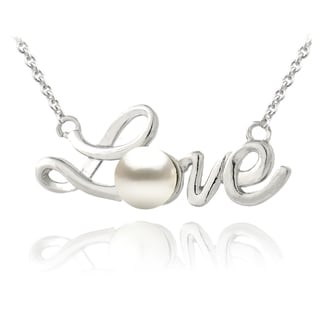 Glitzy Rocks Sterling Silver Freshwater Pearl Love Necklace (5.5 mm)