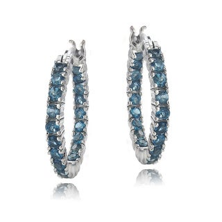 Glitzy Rocks Rhodium-plated Gemstone Hoop Earrings