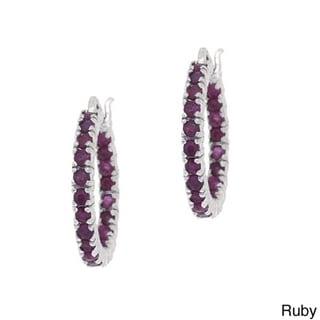 Glitzy Rocks Rhodium-plated Gemstone Hoop Earrings