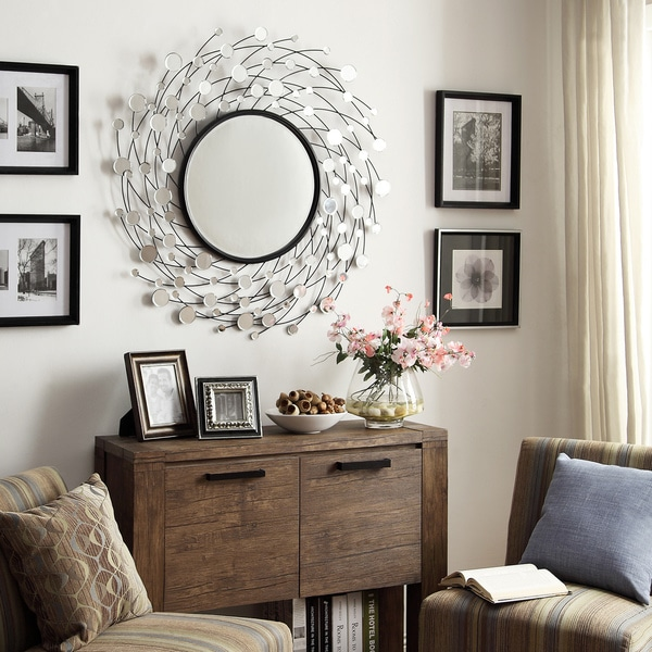 Pollock Spinning Nest Silver Finish Accent Wall Mirror