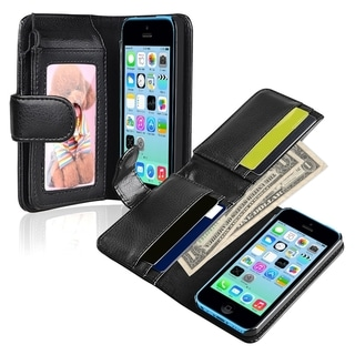 INSTEN Black Wallet Leather Phone Case Cover for Apple iPhone 5 / 5C / 5S / SE