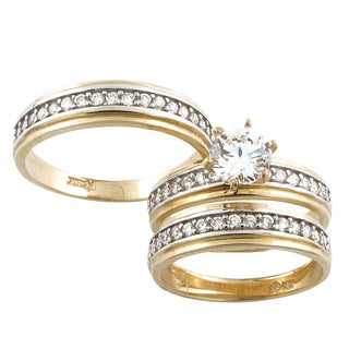 10k Yellow Gold Cubic Zirconia 'His and Her' Wedding Band Set