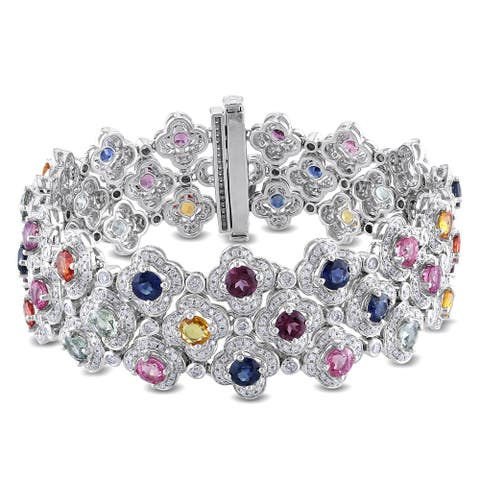 Miadora Signature Collection 14k White Gold Sapphire and 3 7/8ct TDW Diamond Bracelet (G-H, SI1-SI2)