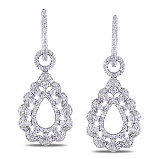 Miadora Signature Collection 14k White Gold 1 4/5ct TDW Diamond Drop Earrings