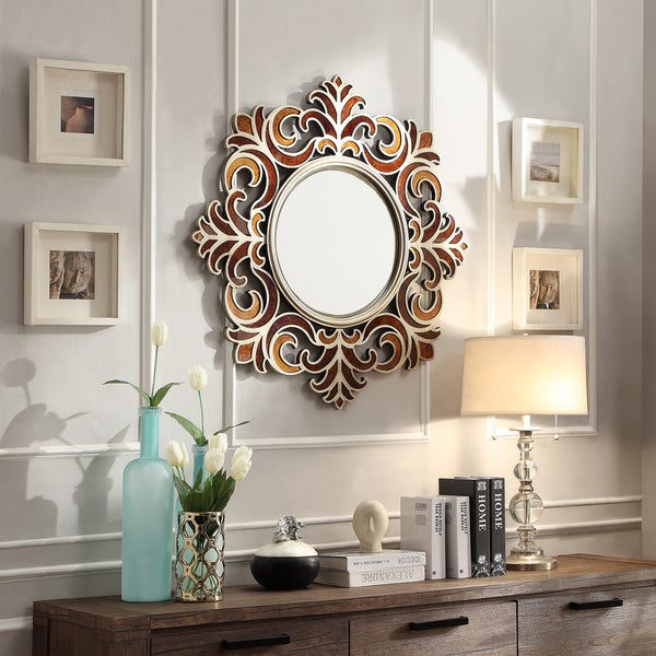Kiona roccoco frame bronze finish accent wall mirror free shipping today - Wall decor mirror home accents ...