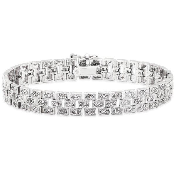 Finesque Sterling Silver 1/2ct TDW Diamond Brick Bracelet