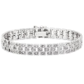 Finesque Sterling Silver 1/2ct TDW Diamond Brick Bracelet