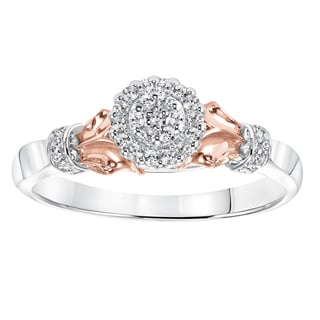 Sterling Silver and 10k Rose Gold Accent 1/6ct TDW Diamond Ring (I-J, I2-I3)