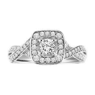 Cambridge Sterling Silver 5/8ct TDW Round Diamond Braided Engagement Ring