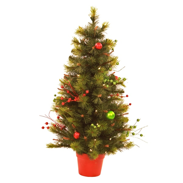 pre lit decorated christmas tree 3 feet