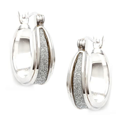 La Preciosa Sterling Silver Sparkle Center Earrings