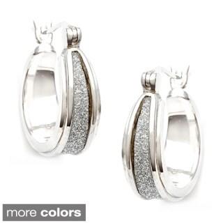 La Preciosa Sterling Silver Sparkle Center Earrings