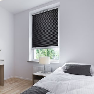 Lewis Hyman Vinyl Black Cordless Mini Window Blinds