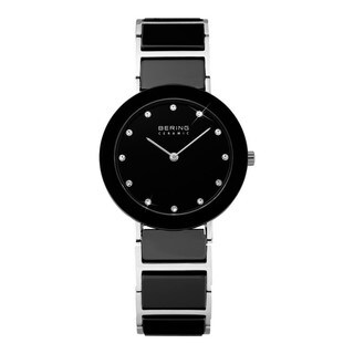 BERING Ceramic Slim Watch With Sapphire Crystal & Silver Stainless Steel Strap