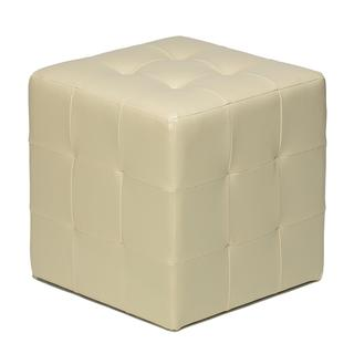 Ivory Faux Leather Cube Ottoman