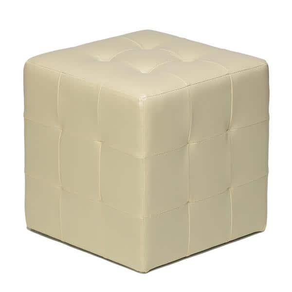 Tremendous Porch Den Brinwood Ivory Faux Leather Cube Ottoman Dailytribune Chair Design For Home Dailytribuneorg