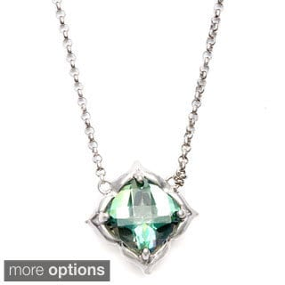 Sterling Silver Cushion-cut Green Topaz, Amethyst Necklace