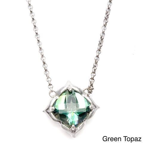 Sterling Silver Cushion-cut Green Topaz, Amethyst Necklace