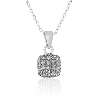 Molly and Emma Sterling Silver Children's Cubic Zirconia Square Necklace
