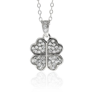 Molly and Emma Sterling Silver Children's Cubic Zirconia Clover Necklace