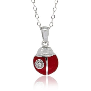 Molly and Emma Silver Children's CZ and Red Enamel Ladybug Necklace