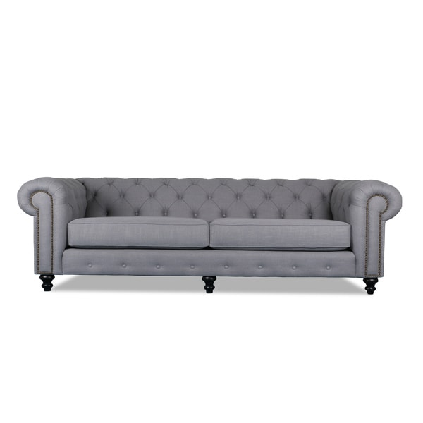 shop patrick chesterfield tufted premium linen sofa free shipping rh overstock com chesterfield sofa grey linen chesterfield sofa grey linen