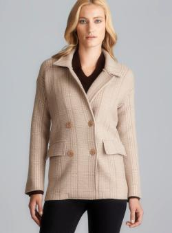 Massimo Rebecchi Double Breasted Two Pocket Plaid Wool Coat