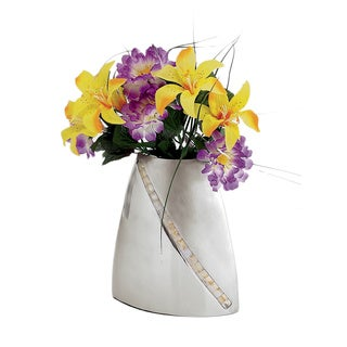 Mother-of-Pearl Inlay Two-Tone 9-inch Vase